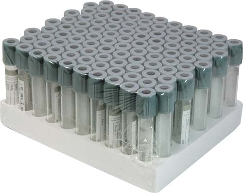 Fluoride Oxalate -  glass vacuum blood collection tube.