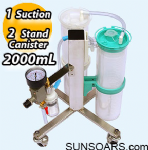 2 Tandem Stand with 2000mL Canister, 1 Suction on Low Rack